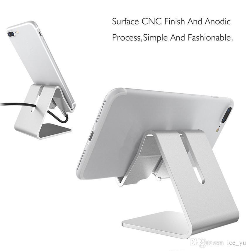 Titular de aluminio universal del soporte del teléfono del metal para el iPhone 6 7 más soporte del sostenedor del teléfono de la tableta de Samsung S8 para el reloj elegante