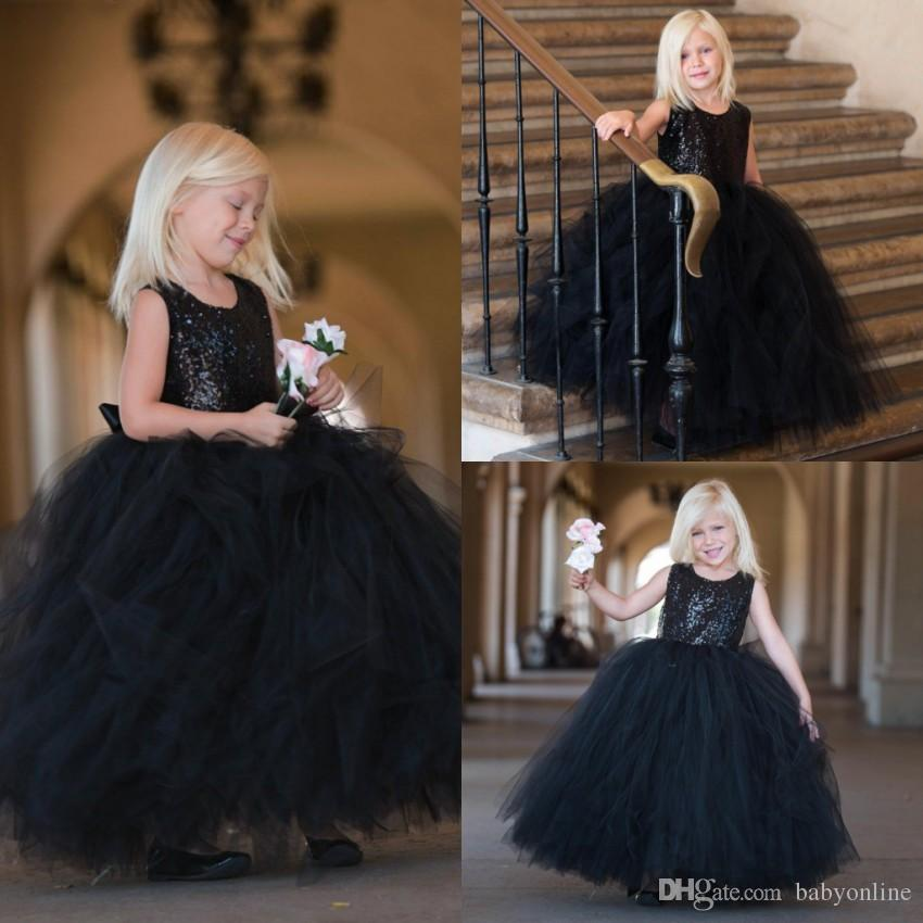 ee95f9e9e18 Beautiful Distant Dream Ball Gown Flower Girl Dress In Black Sequin With  Black Tulle Skirt Kids Birthday Children Girls Pageant Dresses Chiffon Flower  Girl ...