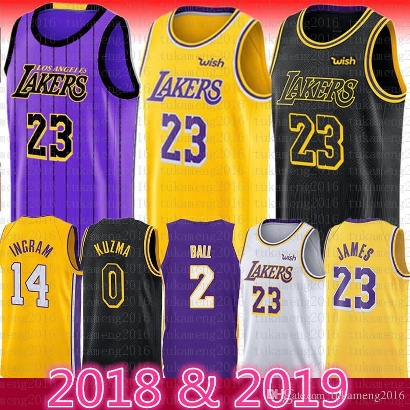 Los Angeles Lakers 23 Lebron James 14 Brandon Ingram yellow 0c46bfa59