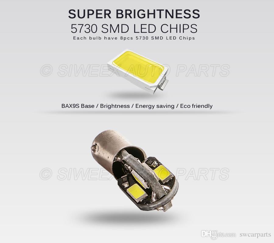 BAX9S H6W Lampadine a LED 8 SMD 5730 Lampada da lettura Indicatore laterale Lampada Luce bianca calda DC 12V bianco auto