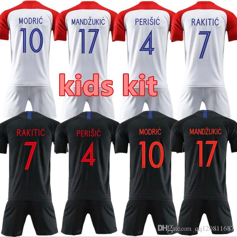 2018 World Cup Kids Kit MODRIC MANDZUKIC RAKITIC Home Soccer Jerseys 2018  World Cup Camisetas PERISIC KALINIC KOVACIC Football Shirts MODRIC PERISIC  RAKITIC ... d2c5bcdb1