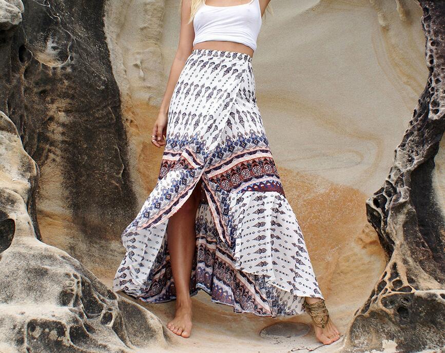 39ce1b2fea07 2019 6 Style Summer Skirts High Waist Boho Print Long Skirt Women Split  Maxi Skirt Floral Print Beach Skirt Female Chic Vintage From Qinfeng04