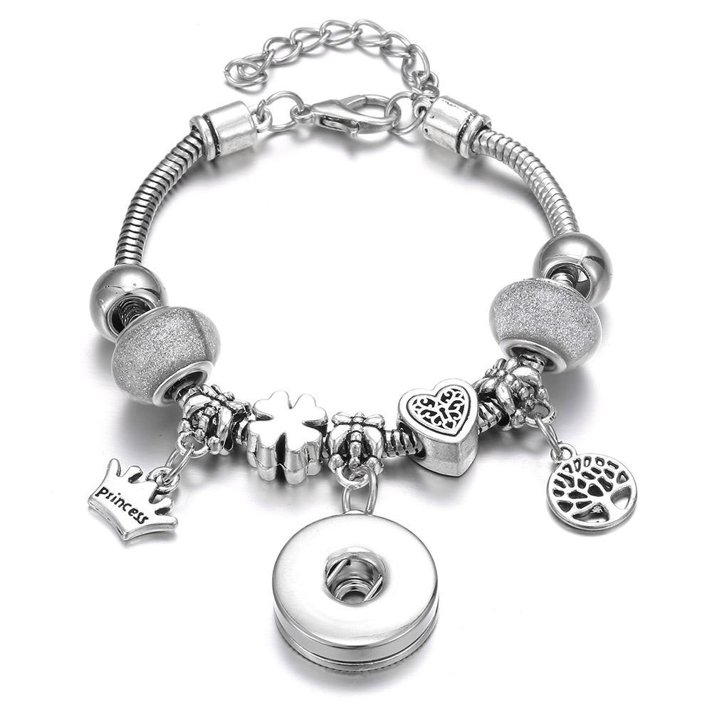 Bracelets & Bangles Charm Bracelets 2019 New 6 Colors Snap Bracelet Silver Lobster Buckle Snake Chain Bangles Crystal Beads Bangles Fit 18mm Snap Jewelry Women