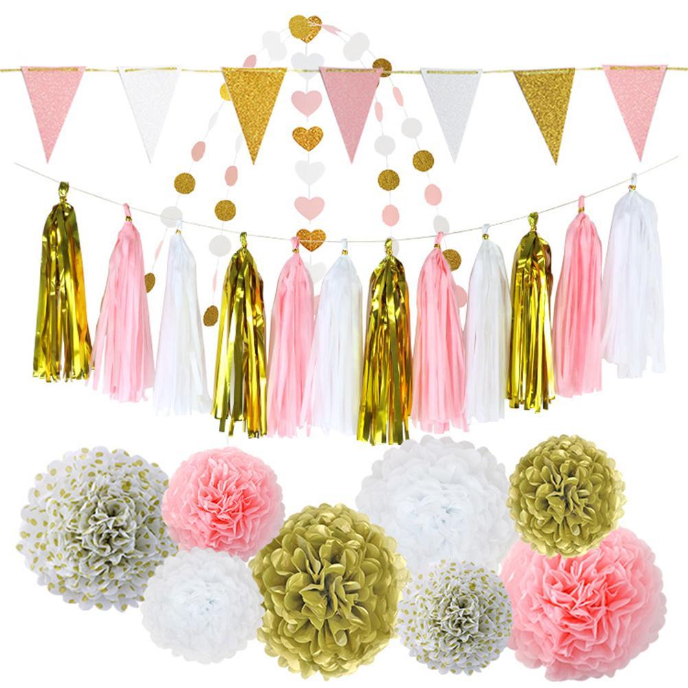2019 Hanging Tissue Paper Flower Decoration Pom Pom Rose Ball