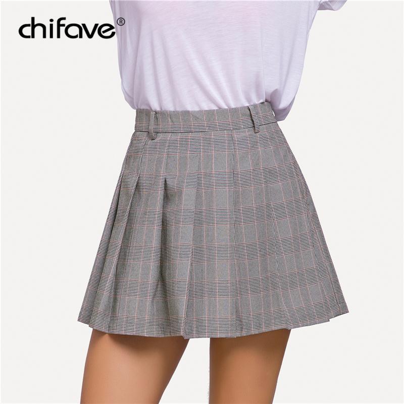 4ea9966677 Compre 2018 Chifave Falda A Cuadros De Las Mujeres De Las Mujeres Falda  Plisada De Cintura Alta Uniformes Escolares De Una Línea Pantalones Casuales  Más El ...