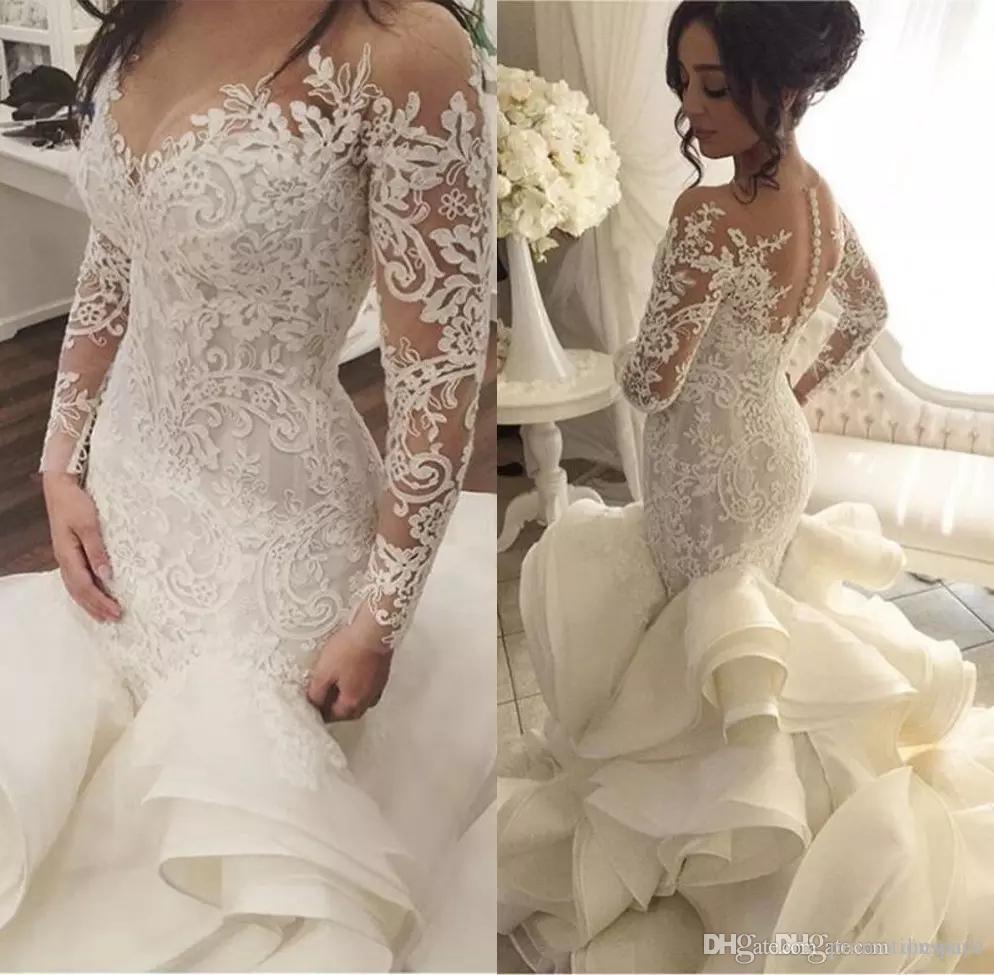 2018 Sereia De Luxo Vintage Ruffles Vestidos de Casamento Com Decote Em V Mangas Compridas Artesanais Ver Através de Trás Tribunal Train Nupcial Vestidos vestido de noiva