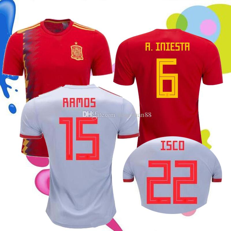 4c449fc5c 2018 SPAIN World Cup Soccer Jersey 18 A.INIESTA ISCO RAMOS ASENSIO ...