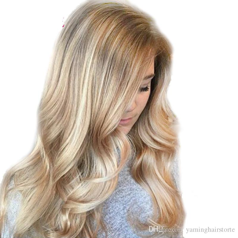 Ombre Ash Blonde Color Synthetic Wigs High Temperature Fiber Daywear