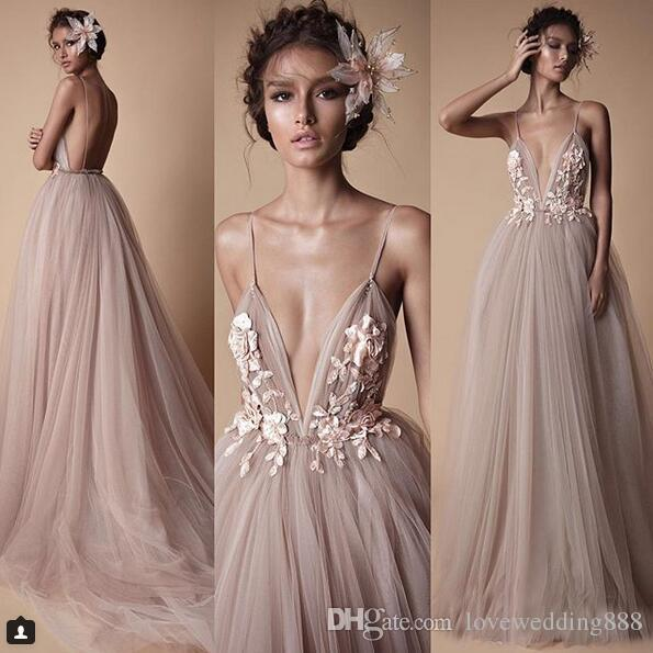 2018 Latest BERTA Prom Dresses Evening Wear Champagne Tulle Lace Floral Spaghetti Backless Formal Masquerade Ball Outfit