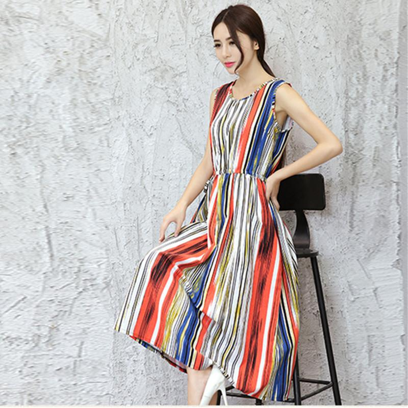 4f0befc6a22 2019 Uego 2018 New Fashion Sleeveless Women Summer Dress Cotton Linen Print  Striped Ladies Midi Dress Plus Size Beach Casual From Silan