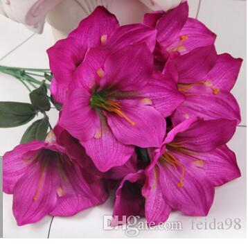 زنبق ماغنوليا زهرة الجرف كبير النمر الأزرق محاكاة الحرير زهرة 46 سم طويل 10 زهرة