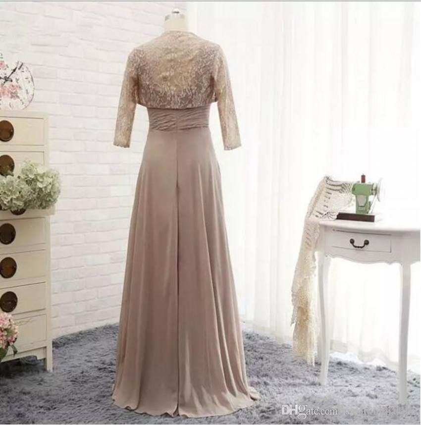 Mutter der Braut Kleider lang eine Linie Chiffon- Abendkleid mit Spitze applique Jacke Fußboden-Längen-Schatz-Hochzeit Kleider
