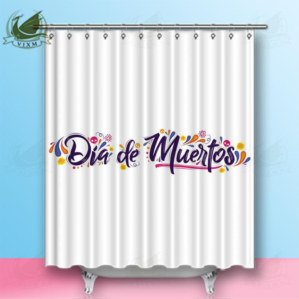 2019 Vixm Home Dia De Muertos Day Fabric Shower Curtain Dead Spanish Text Lettering Bath For Bathroom With Hook Rings 72 X From Bestory