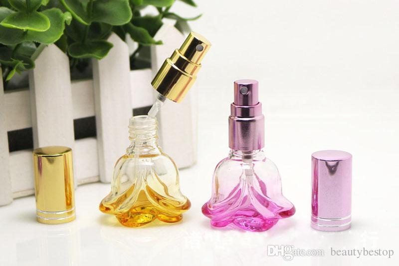 6ml Colorful Glass Perfume Bottles Spray Refillable Atomizer Scent Bottles Rose Shape Cosmetics Packaging Bottle Easy to Carry