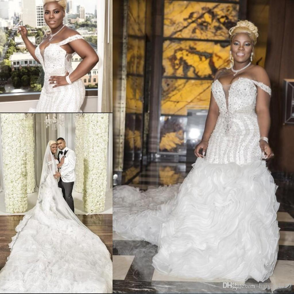 2018 African Mermaid Wedding Dresses Off Shoulder Luxury Bling Crystal Beading Organza Ruffles Chapel Train Plus Size Formal Bridal Gowns