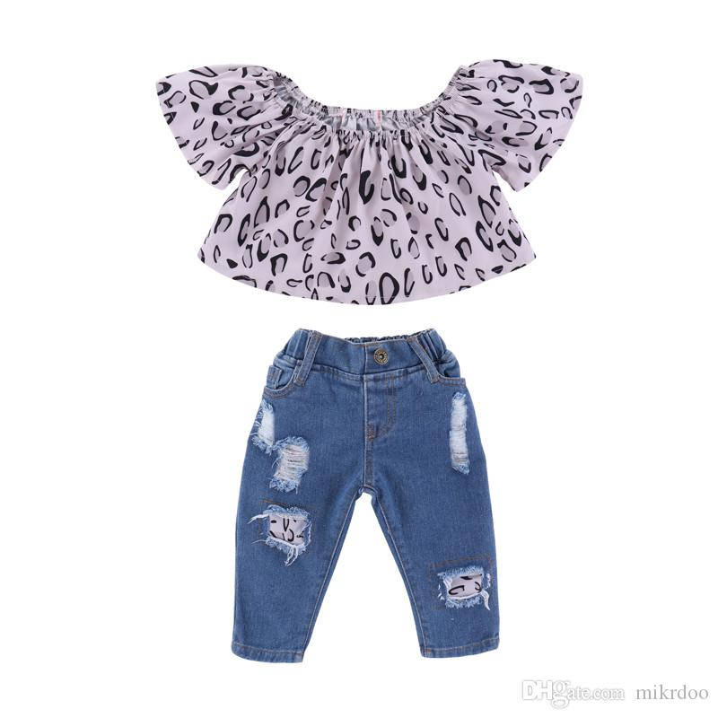 78d1d834f Compre Mikrdoo Kids Baby Girl Summer Fashion 2 UNIDS Conjunto De Ropa  Ruffle Leopard Short Top + Ripped Holes Jeans Outfit Toddler Lovely Casual  Clothes A ...