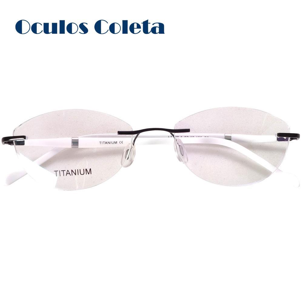 605739f0e90cc 2019 Women Cat Eye Glasses Frames Top Fashion Titanium Rimless  Rice White Purple