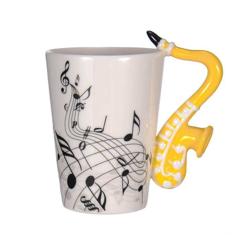 The Office Mugs Intended Mugs New Saxophone Ceramic Coffee Porcelain Milk Mug Tea Cups Music Notes Home Office Drinkware Glass From
