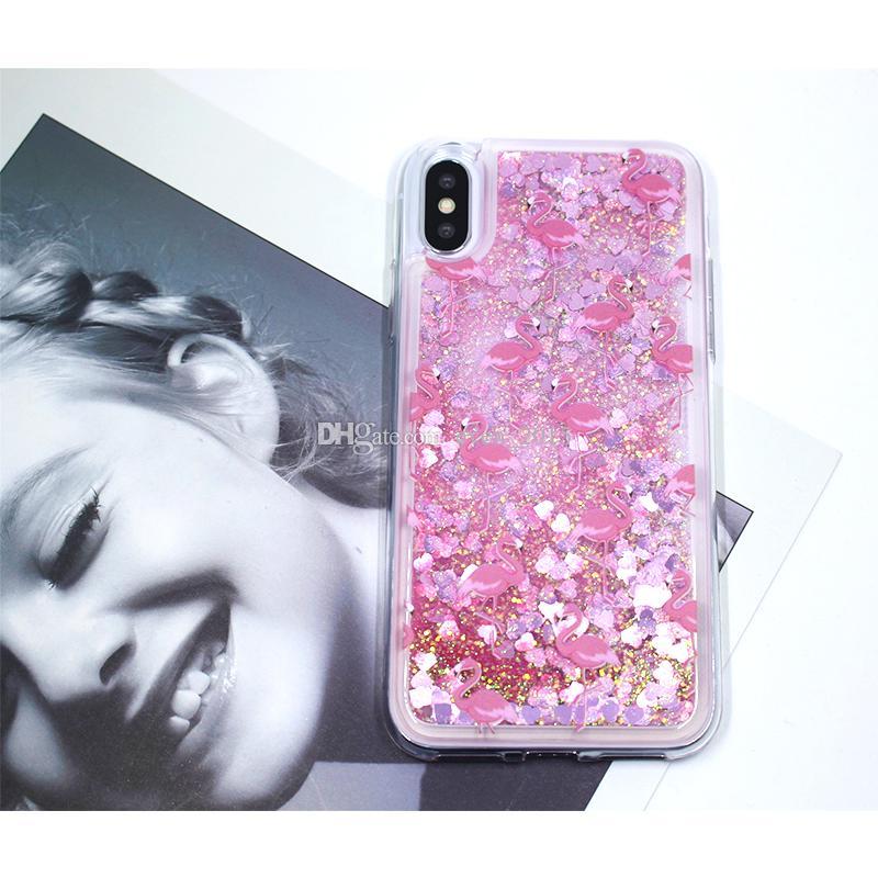 Transparent Liquid Perfume Bottle Flamingo Ice-cream Balloon Quicksand Phone Cases For Iphone X 6s 7 8 Plus For Samsung S9 S8 Plus Case