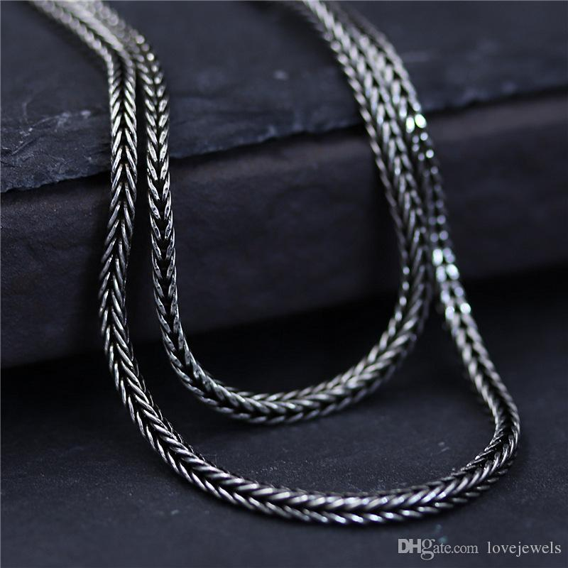 designer jewelry vintage 925 sterling silver Woven fox tail chain 1 5mm  45-75cm marcasite women s sweater chain mens chain china direct