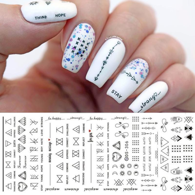 1 Sheet Letter Nail Art Water Decals Geometric Figure Nail Transfer Stickers Manicure Paper DIY Decoration DS306