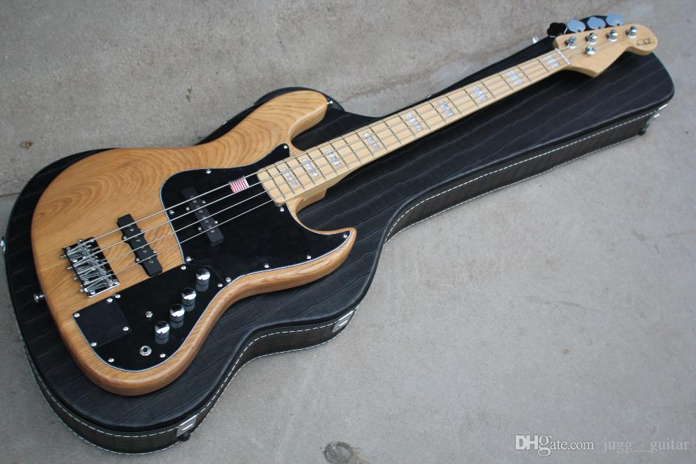 Custom 4 Strings Ash Body Precision Marcus Miller Signature Natural Jazz Electric Bass Guitar Maple Neck Black Pickguard