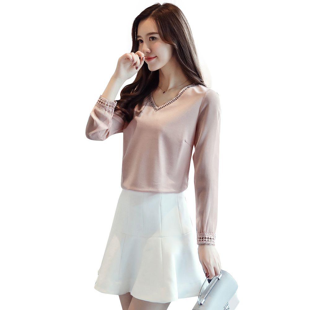 c44afe682 Tops de verano para mujer 2019 Moda coreana con cuello en v Kpop Blusa  Encaje Empalme Manga larga Verano Color sólido Camisa Tops Rosa