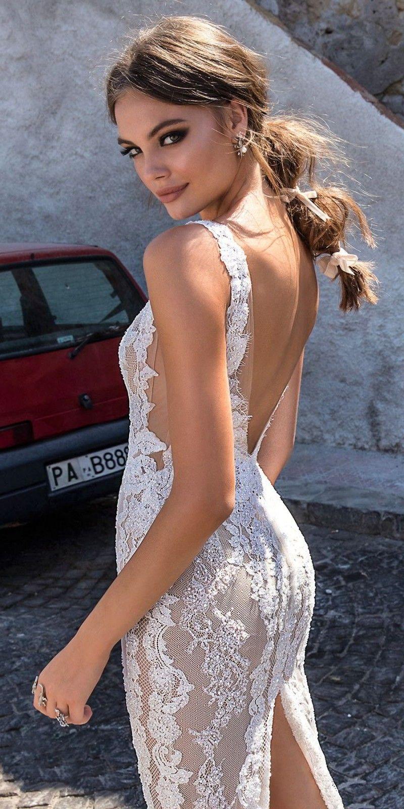 Berta robes de mariée en dentelle pleine dos nu col V illusion corsage robe de mariée longueur de plancher sur mesure robes de mariée