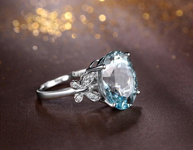 Mavi Elmas Topaz Yüzük Kristal Kelebek Yüzükler Brida Alyans Moda Takı Kadın Yüzükler Hediye Will ve Sandy Yeni