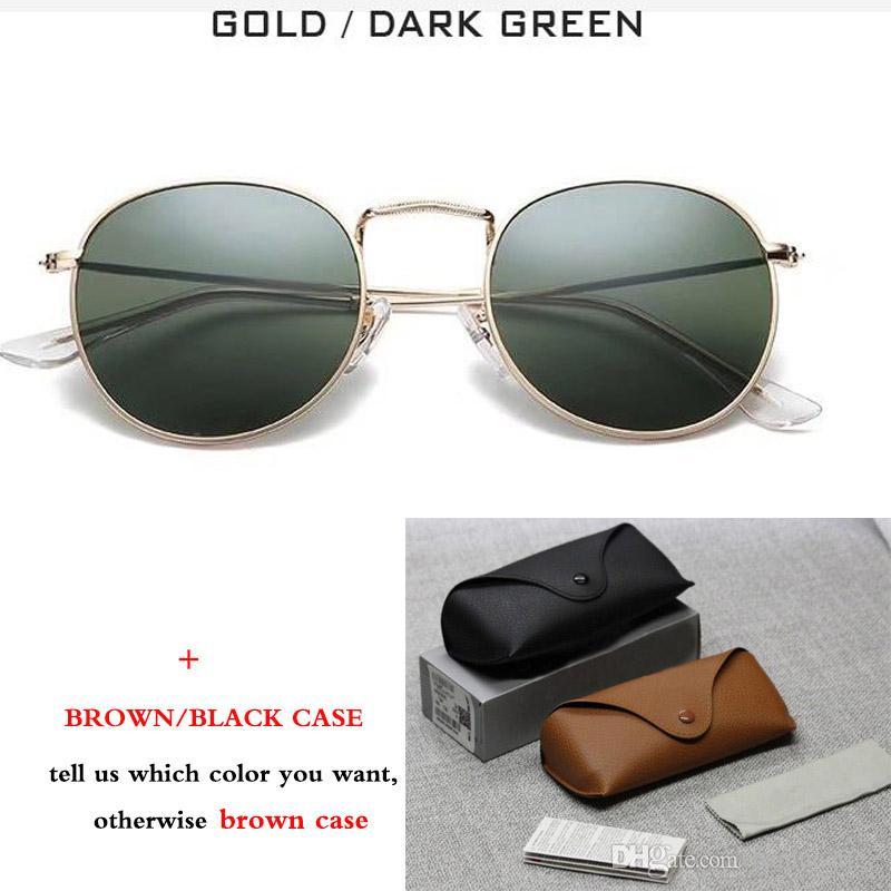 New Classic Runde Metall Stil Sonnenbrille Männer Frauen Vintage Retro Sonnenbrillen Oculos De Sol mit braunem Fall