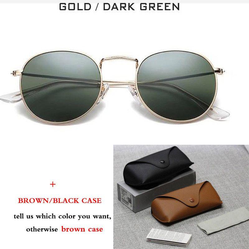 Ronda de metal nuevo clásico del estilo de gafas de sol mujeres de los hombres retro de los vidrios de Sun Gafas de sol con la caja marrón