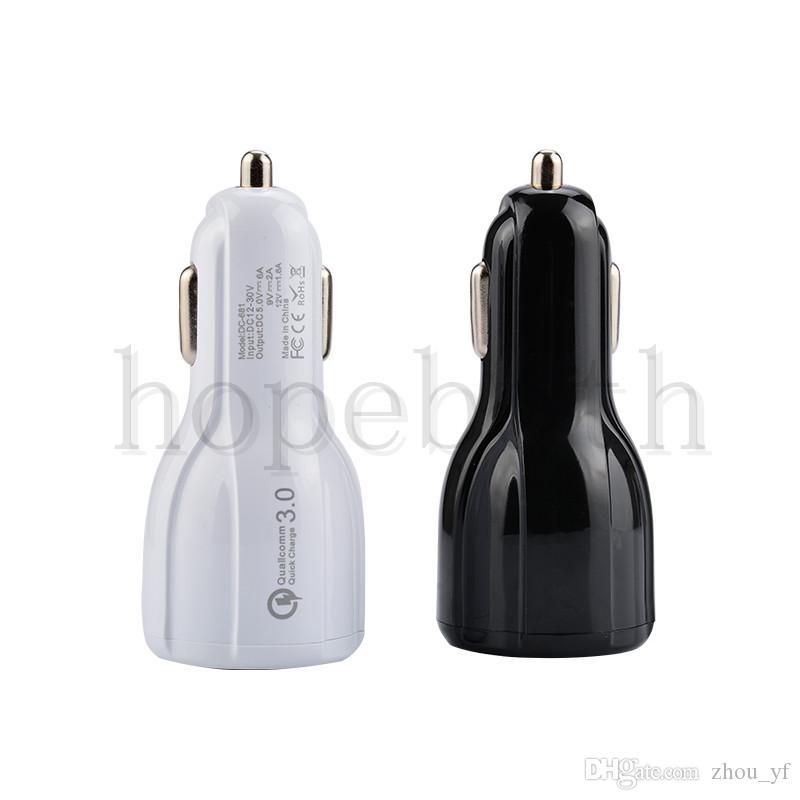 Высокое качество Автомобильное зарядное устройство 5V / 6A 9V / 2A 12V / 1.2A QC3.0 быстрая зарядка автомобиля 3.1A Dual USB адаптер зарядное устройство для Samsung Galaxy S8 S9 с пакетом