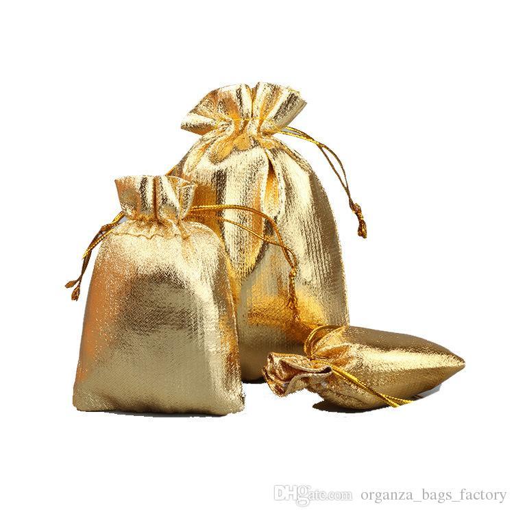 100 Pçs / lote Banhado A Ouro GAUZE Organza Favor Sacos De Embalagem De Jóias De Casamento Bolsas, Agradável Sacos de Presente FÁBRICA