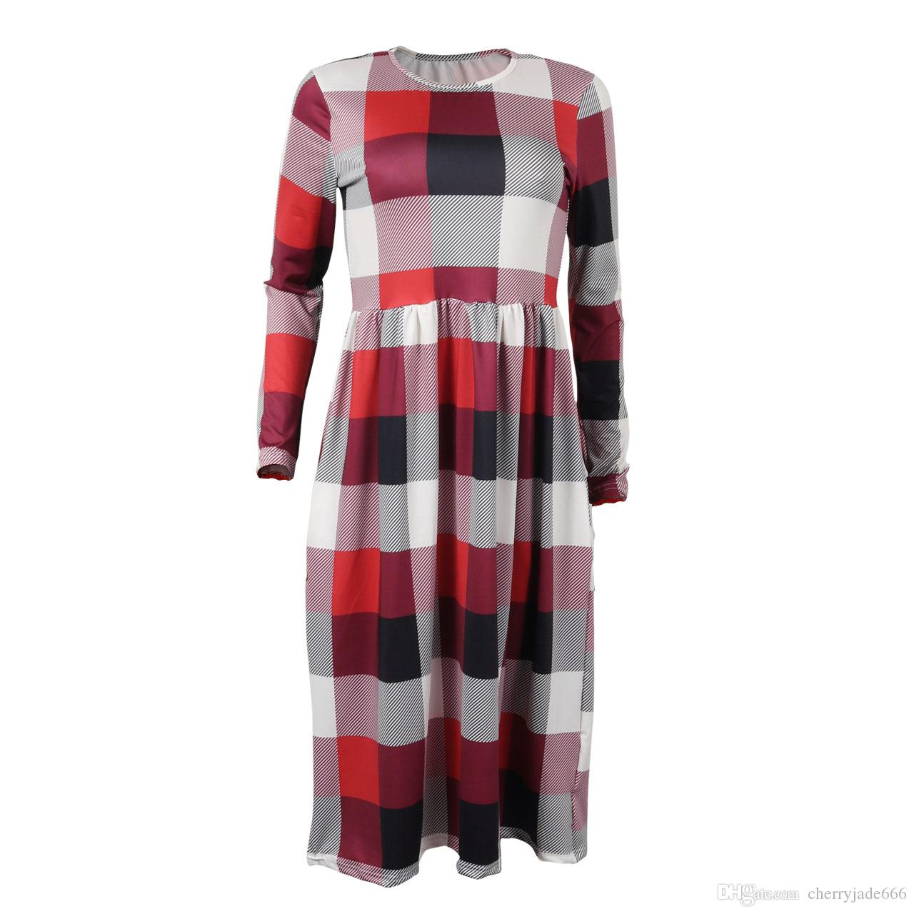 2017 autumn winter dress new long sleeve o-neck plaid dress womens long dress red/green check with pocket