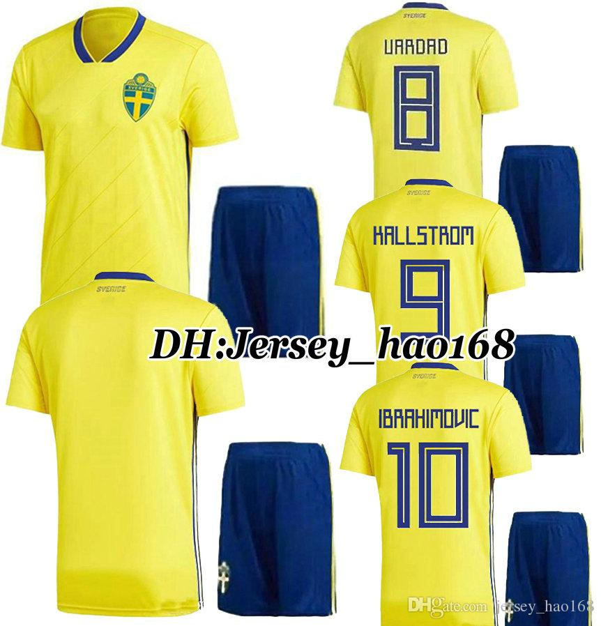 52cbac7c8 2018 World Cup Adults Sweden Kits Jersey Soccer 18 LARSSO ...