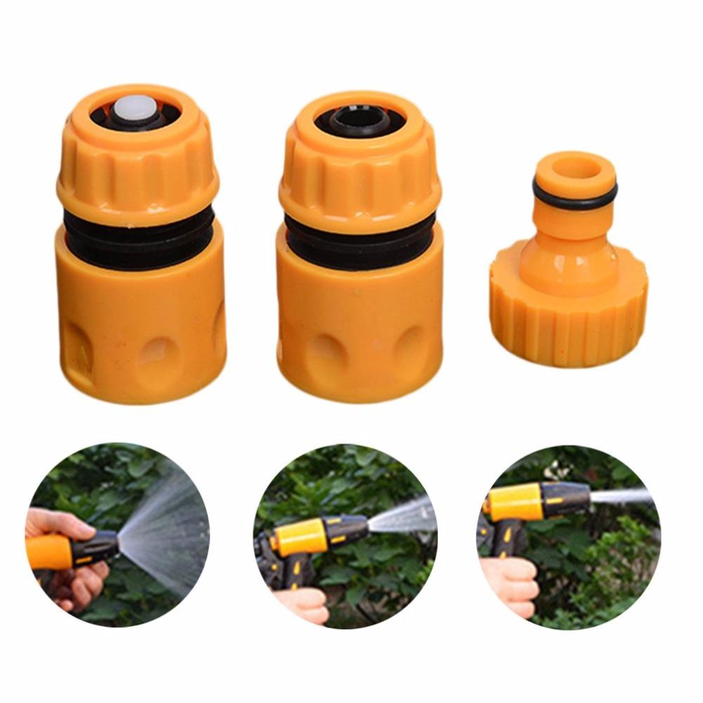 3pcs/set Garden Water Hose Pipe Fitting Set Yellow Plastic Water Hose Pipe  Connector Adapter Garden Accessories Drop Shipping