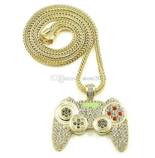 2018 Hip Hop Game Machine Handle Pendant Necklace Mens Full Crystal Тяжелое ожерелье Мода Iced Out Game Controller Necklace