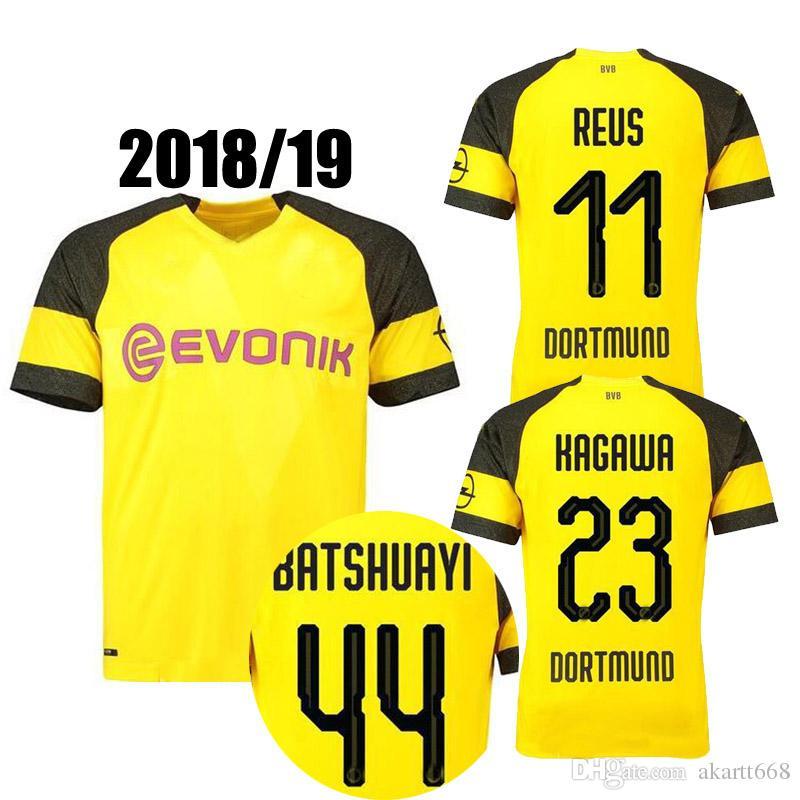 sale retailer 5e151 51674 18 19 Dortmund REUS home away Jerseys 2018 2019 SCHURRLE PISZCZEK PULISIC  AUBAMEYANG jersey MKHITARYAN HUMMELS GOTZE sport shirt