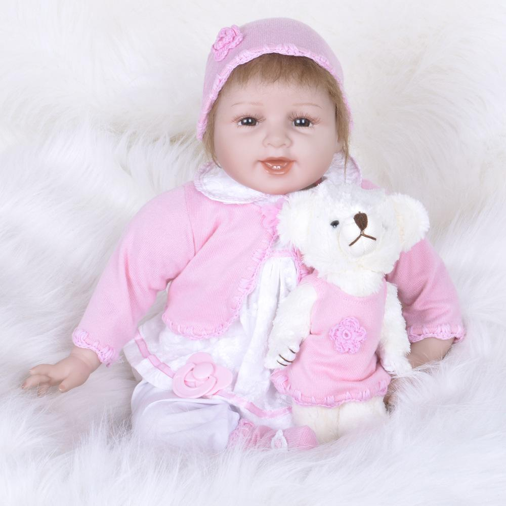 Sunny New Arrival 22 Inch Soft Silicone Reborn Baby Girl Doll 55 Cm Lifelike Baby Alive Doll With Fiber Hair Childrens Day Gift Toy We Have Won Praise From Customers Dolls & Stuffed Toys