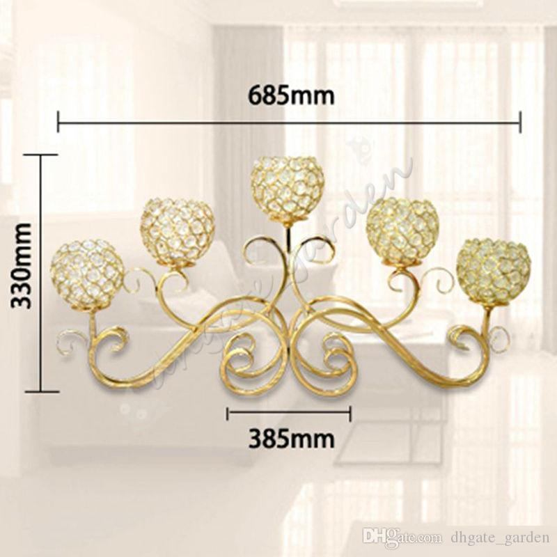 5 Head Metal Candle Holder Gold/Silver Plated Candlestick Crystal Table Candelabras Home Hotel Wedding Centerpieces Decoration