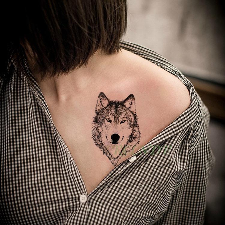 Autocollant De Tatouage Temporaire Impermeable Animal Loup Lion Lion Tatto Flash Tatoo Main Poignet Pied Bras Cou Faux