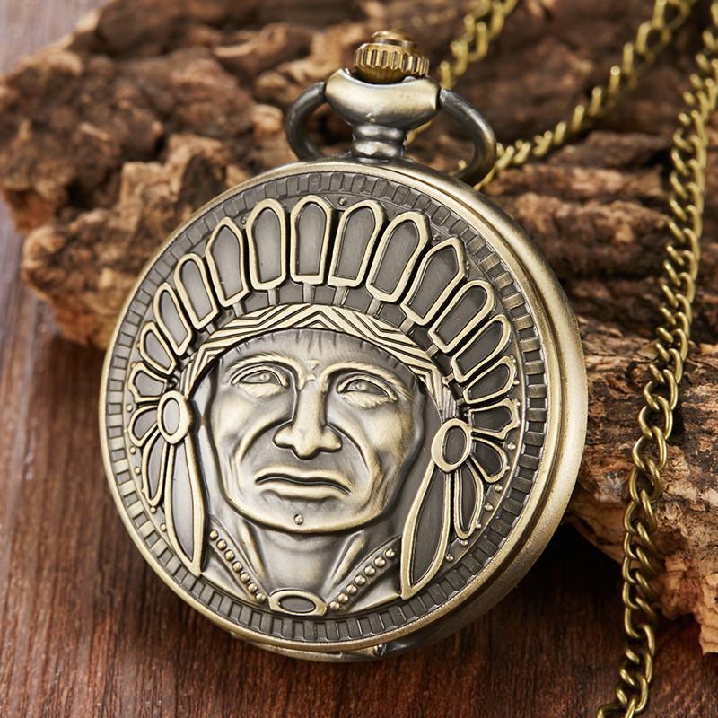 ff02507940e Compre Único Bronze Relógio De Bolso De Quartzo Homens Steampunk Tribal  Elder Escultura Relógio De Bolso Com Cadeia FOB Vintage Mulheres Homens  Relógio De ...