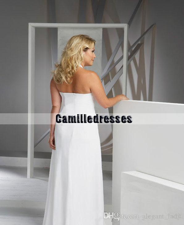 Beach Plus Size Wedding Dresses Cheap V Neck Halter Wedding Gown Empire Waist Chiffon Wedding Dress Asymmetrical Bridal Gowns Sale
