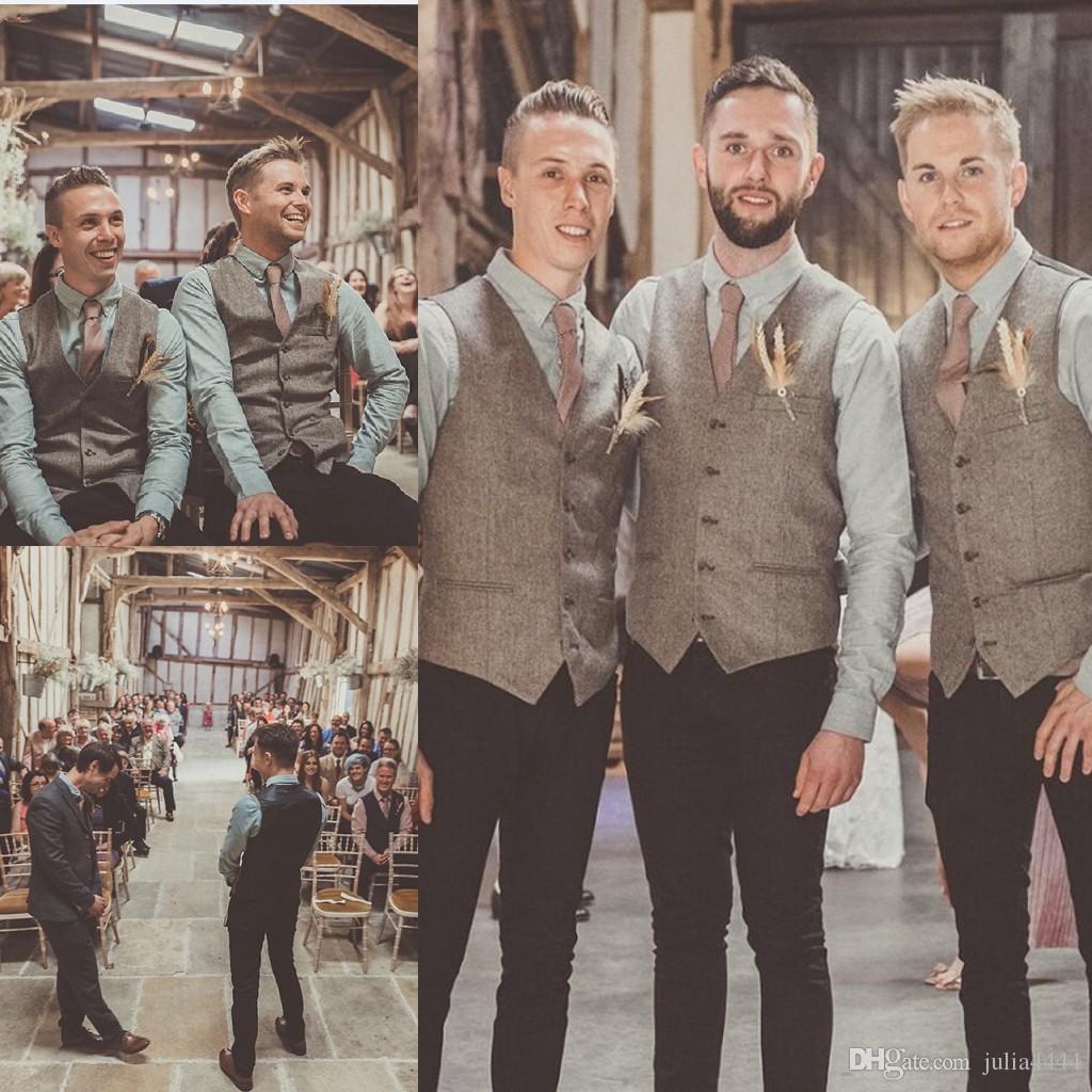 Grosshandel 2019 Vintage Brown Tweed Weste Wolle Fischgrat British