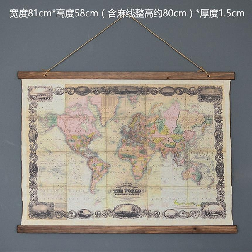 2019 Large Retro World Map Linen Cloth Painting Scrolls Poster Mural