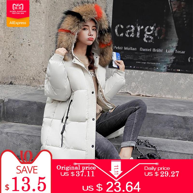 Nouveau Warm Taille Veste À Plus Parka Vêtements Capuche Big Fur D'hiver Collar Femmes Manteau Femme Mujer Parkas Coton De Down La Chamarras 2018 4R3qAcjL5