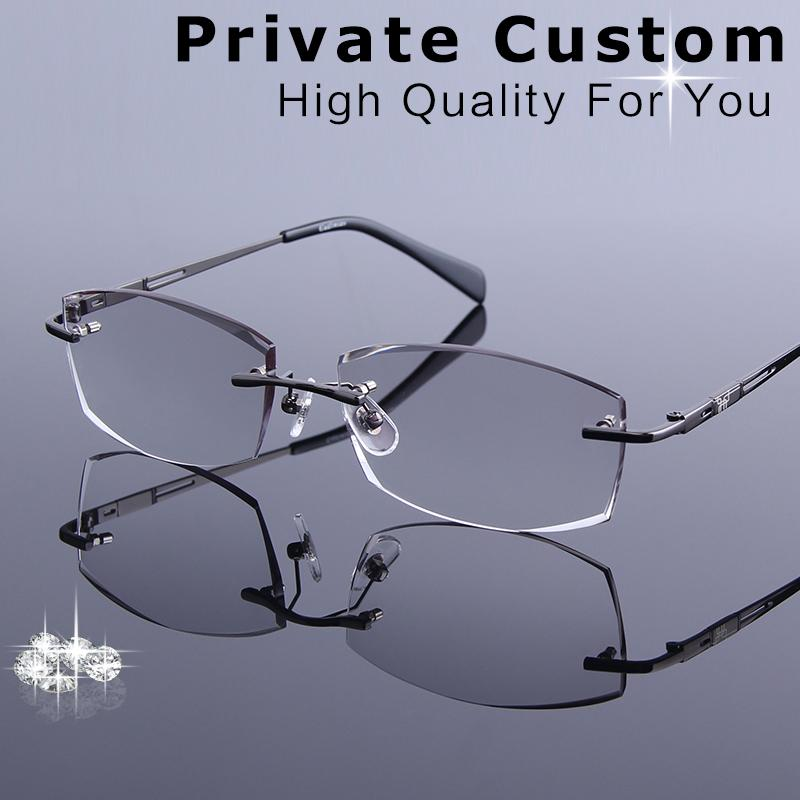 2aea866d769 2019 Business Style Men s Rimless Eyeglasses Diamond Cutting Reading  Glasses Optical Prescription Clear Computer Myopia Eye Glasses From  Milknew