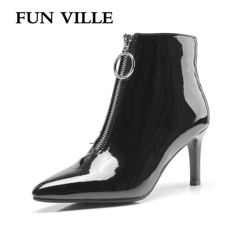 d07715b66643a Großhandel Fun Ville Neue Mode Herbst Winter Damen Stiefeletten Lackleder  High Heels Stiefel Schwarz Spitz Sexy Damen Schuhe Von Serendip