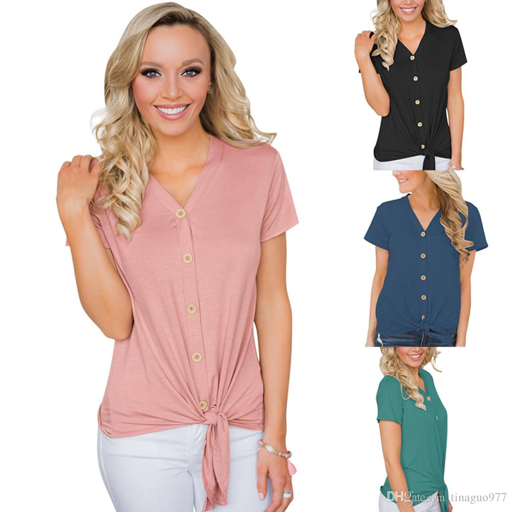 ecec2a50 Button Down Women T Shirt V Neck Short Sleeve Tie Front Knot Casual Blouse  Tops Green Black Pink Blue Designer White T Shirt Printed T Shirts Funny  From ...