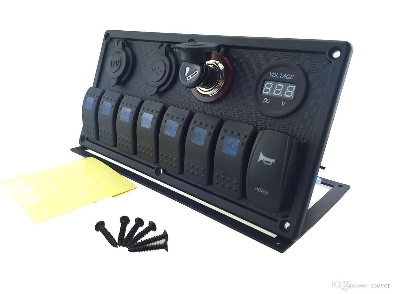 12V-24V DC 8 gangs Étanche marine bleu led panneau de commutation avec prise de courant double led Interrupteur de klaxon d'allume cigarette et 4.2A USB voltmètre